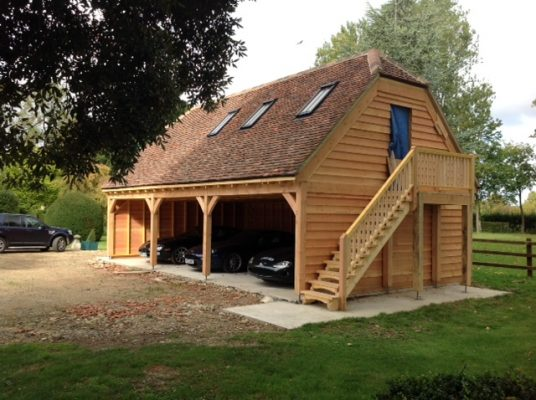 3 Bay Barn End Garage with Room Above