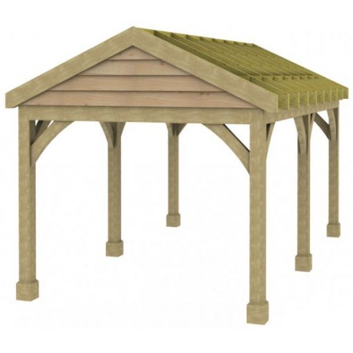 1 Bay Carport with Low Pitch Gable Fronted Roof Rafters
