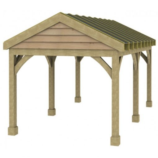 1 Bay Carport with Low Pitch Gable Fronted Roof Sarked