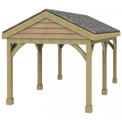 1 Bay Carport with Low Pitch Gable Fronted Roof