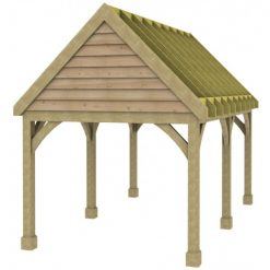 1 Bay Carport with High Pitch Gable Fronted Roof Rafters