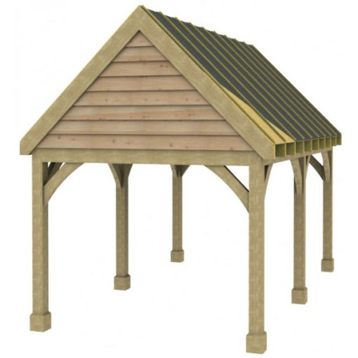 1 Bay Carport with High Pitch Gable Fronted Roof Sarked
