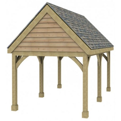 1 Bay Carport with High Pitch Gable Fronted Roof