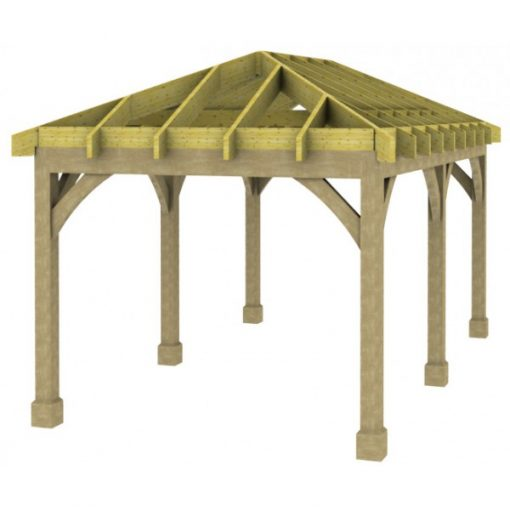1 Bay Carport with Low Pitch Hipped Roof Rafters