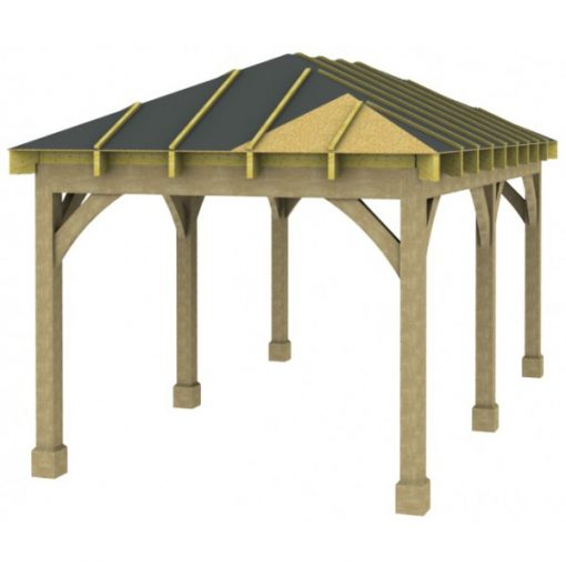 1 Bay Carport with Low Pitch Hipped Roof Sarked