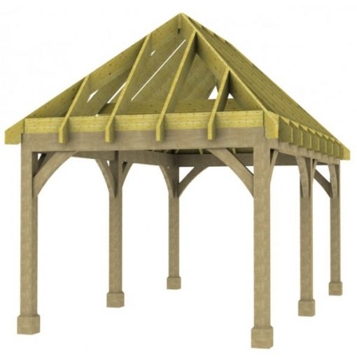 1 Bay Carport with High Pitch Hipped Roof Rafters