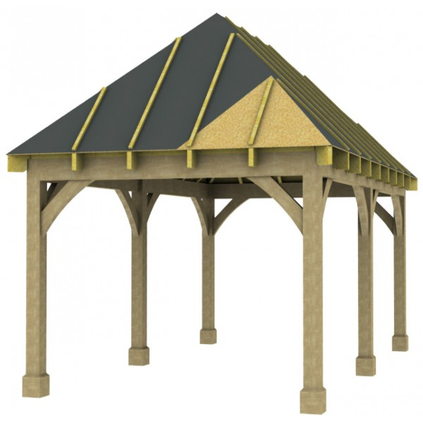 1 Bay Carport With High Pitch Hipped Roof
