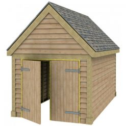 1 Bay Garage with High Pitch Gable Fronted Roof 7x7 Doors