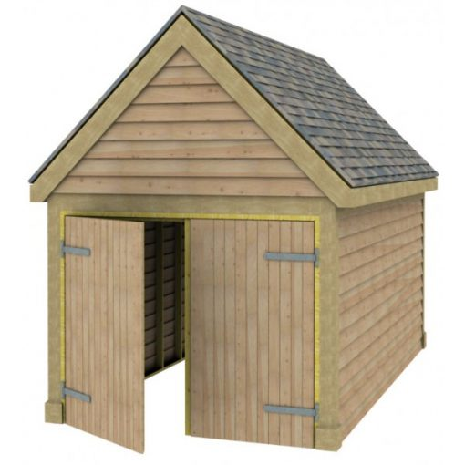 1 Bay Garage with High Pitch Gable Fronted Roof Full Doors
