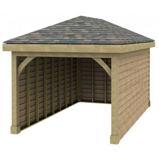 1 Bay Garage with Low Pitch Hipped Roof
