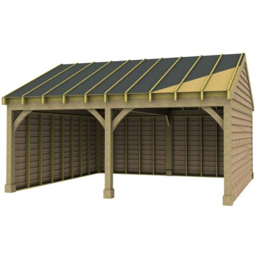 2 Bay Garage with Low Pitch Gable End Roof Sarked