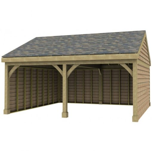 2 Bay Garage with Low Pitch Gable End Roof