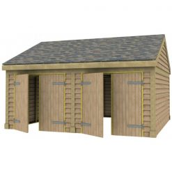 2 Bay Garage with Low Pitch Gable End Roof 7x7 Doors