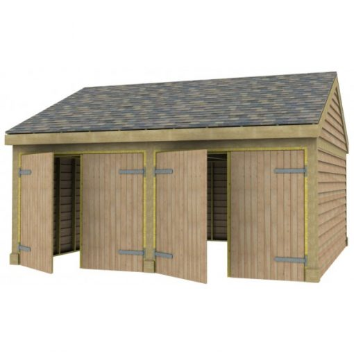 2 Bay Garage with Low Pitch Gable End Roof Full Doors