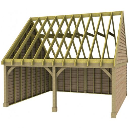 2 Bay Garage with High Pitch Gable End Roof Rafters