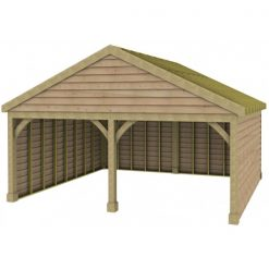 2 Bay Garage with Low Pitch Gable Fronted Roof Rafters