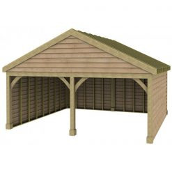 2 Bay Garage with Low Pitch Gable Fronted Roof Sarked