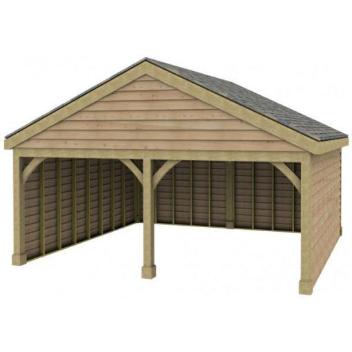 2 Bay Garage with Low Pitch Gable Fronted Roof