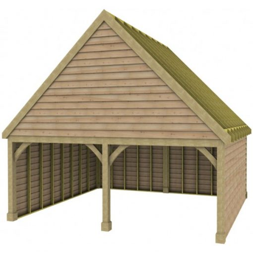2 Bay Garage with High Pitch Gable Front Roof Rafters