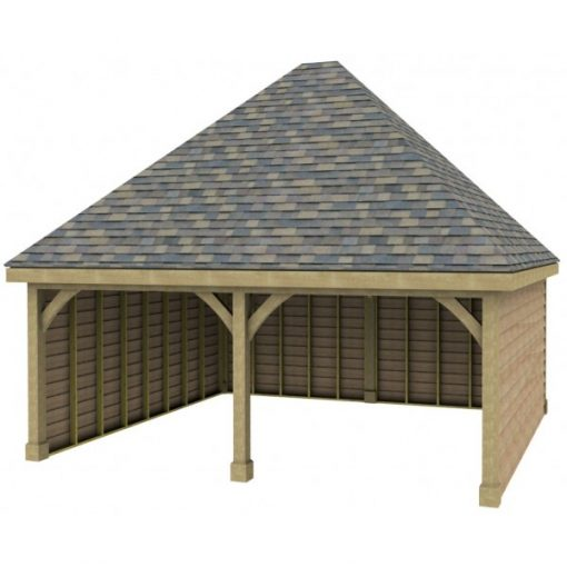 2 Bay Garage with High Pitch Hipped Roof