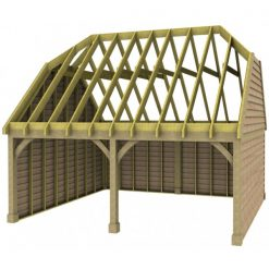 2 Bay Garage with High Pitch Barn End Roof Rafters