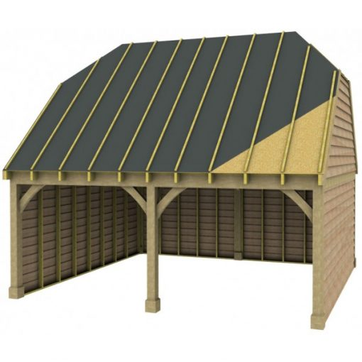 2 Bay Garage with High Pitch Barn End Roof Sarked