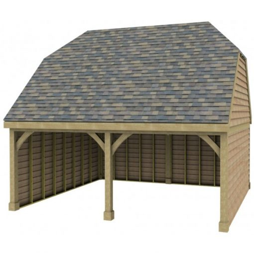 2 Bay Garage with High Pitch Barn End Roof