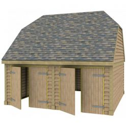 2 Bay Garage with High Pitch Barn End Roof 7x7 Doors