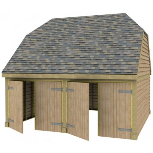 2 Bay Garage with High Pitch Barn End Roof Full Doors