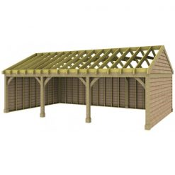 3 Bay Garage with Low Gable End Roof Rafters