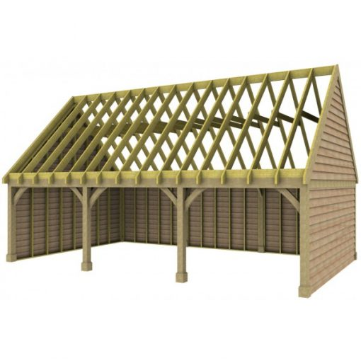 3 Bay Garage with High Pitch Gable End Roof Rafters