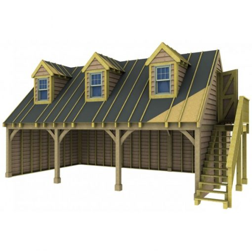 3 Bay Garage with High Pitch Gable End Room in Roof and Dormers Sarked
