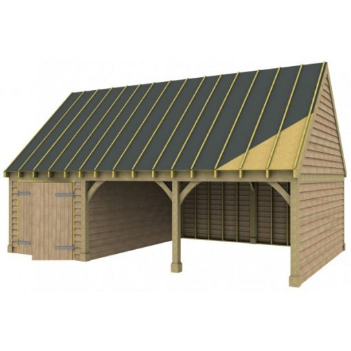 2 Bay Garage with High Pitch Gable Roof and Side Workshop Sarked