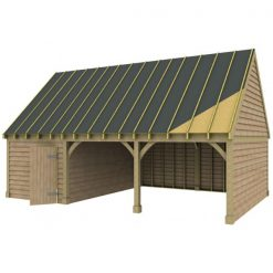 2 Bay Garage with High Pitch Gable Roof and Side Office Sarked