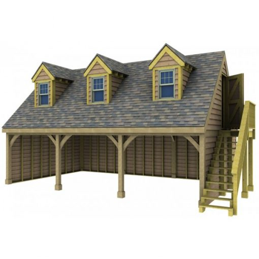 3 Bay Garage with High Pitch Gable End Room in Roof and Dormers