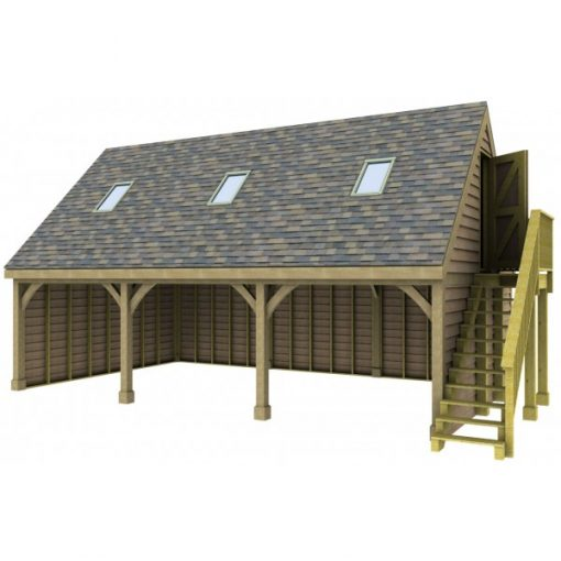 3 Bay Garage with High Pitch Gable End Room in Roof and Rooflights