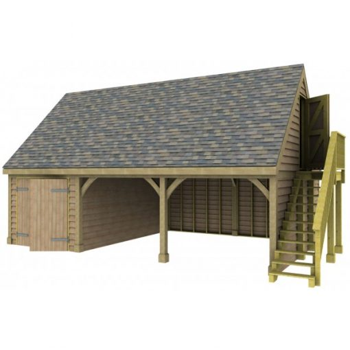 2 Bay Garage with High Pitch Gable End Room in Roof and Side Store Side Store