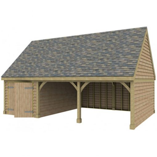 2 Bay Garage with High Pitch Gable Roof and Side Workshop