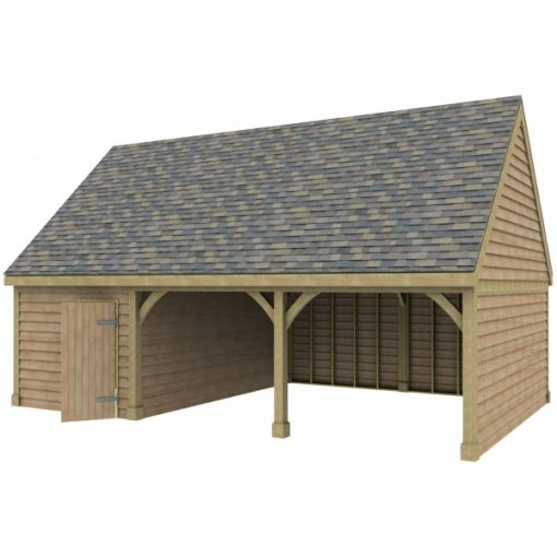 2 Bay Garage with High Pitch Gable Roof and Side Office