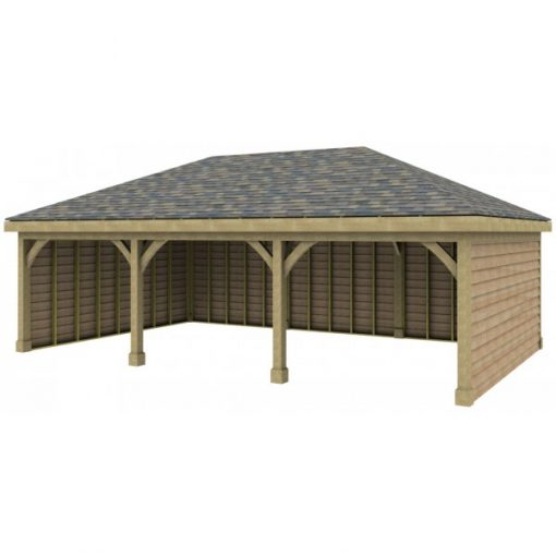 3 Bay Garage with Low Pitch Hipped Roof