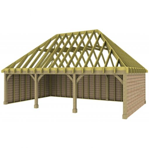 3 Bay Garage with High Pitch Hipped Roof Rafters
