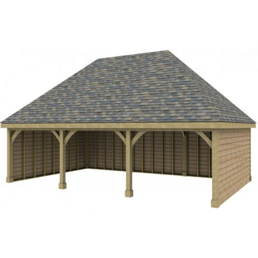3 Bay Garage with High Pitch Hipped Roof
