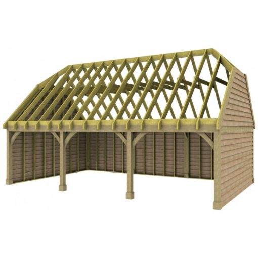 3 Bay Garage with High Pitch Barn End Roof rafters