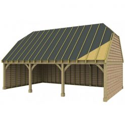 3 Bay Garage with High Pitch Barn End Roof Sarked