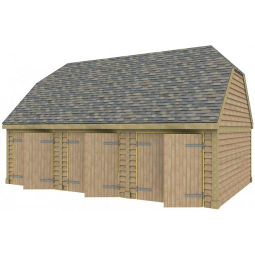 3 Bay Garage with High Pitch Barn End Roof 7x7 Doors