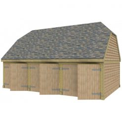 3 Bay Garage with High Pitch Barn End Roof Full Doors