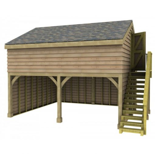 2 Bay Garage with Med Pitch Raised Eave Gable End Room in Roof