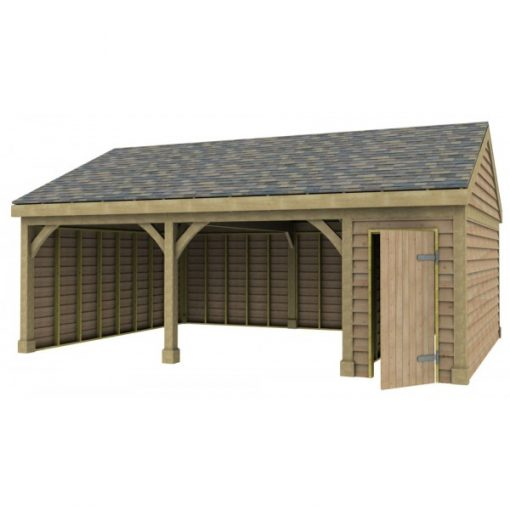 2 Bay Garage with Low Pitch Gable Roof and Half Bay Side Store