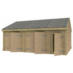 2 Bay Garage with Low Pitch Gable Roof and Half Bay Side Store Full Doors