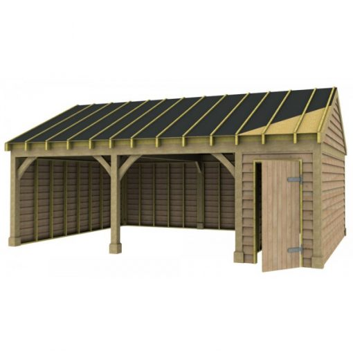2 Bay Garage with Low Pitch Gable Roof and Half Bay Side Store Sarked